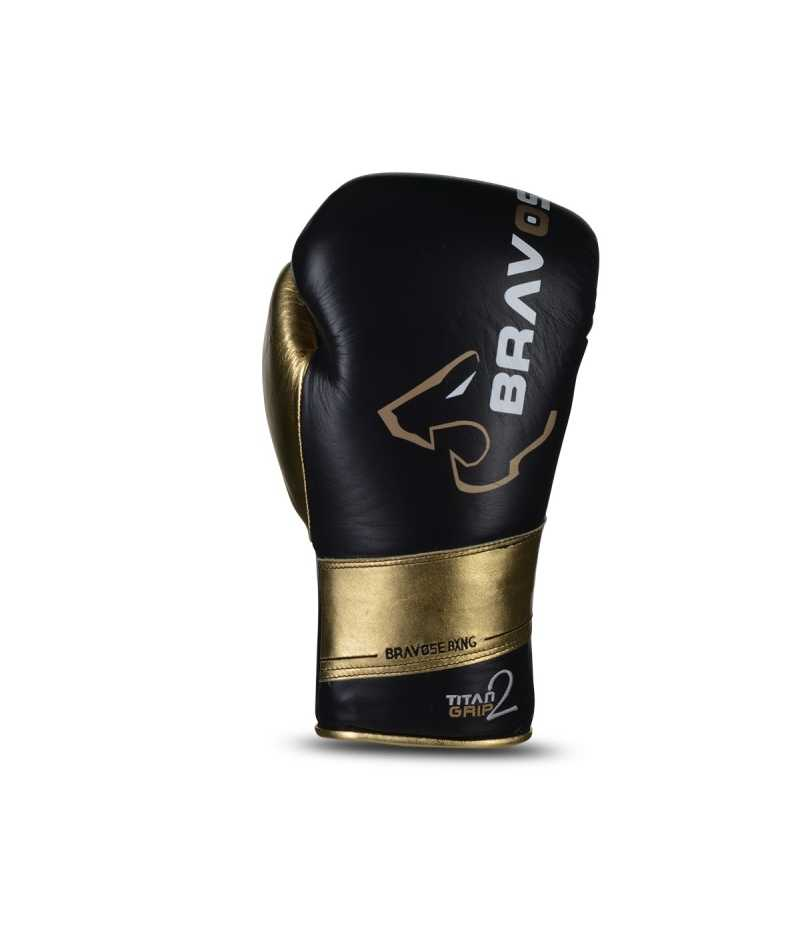 Titan Grip 2 black and gold Real Leather Boxing Gloves for Bag & Sparring