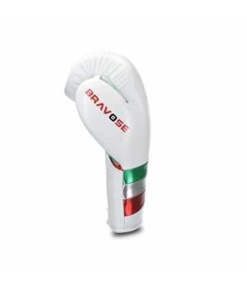 Bravose Valiante Pro White lace up. Premium Quality Real Leather Boxing Gloves for Bag & Sparring