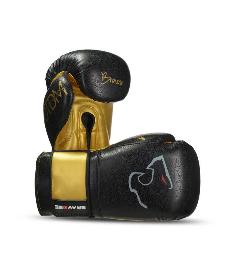 Bravose Nemesis Black and Gold Premium Quality Boxing Gloves for Bag and Sparring