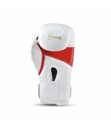 Bravose Alpha Premium quality white and red velcro boxing gloves for bag and sparring