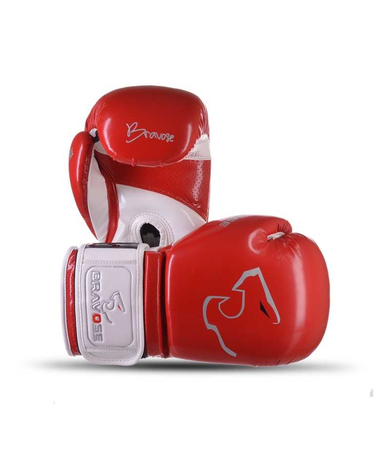 Bravose Alpha Premium quality Red and white velcro boxing gloves for bag and sparring