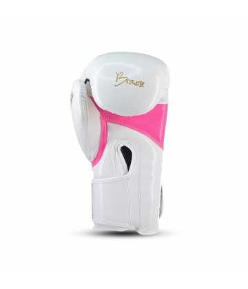 Bravose Alpha Premium quality white and pink velcro boxing gloves for bag and sparring