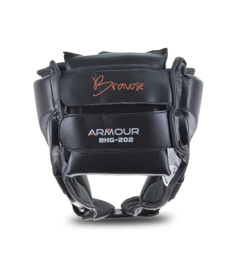 Armour Premium Quality Real Leather Black Head Guard Open Face